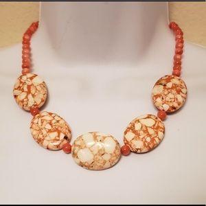 🌅 Coral Orange Beaded Stone Necklace